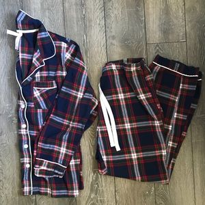 2 Pc Flannel Plaid Pajama Set